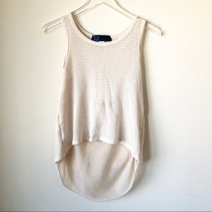 🌸 Francesca's | Ivory knit high low tank